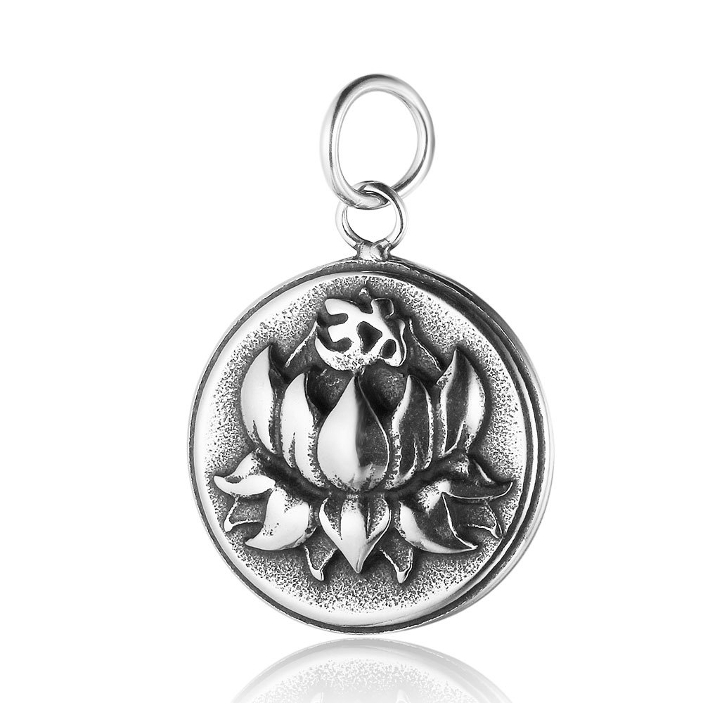 Handicraft material Titanium Steel Lotus pendant for DIY jewelry making size19*29mm