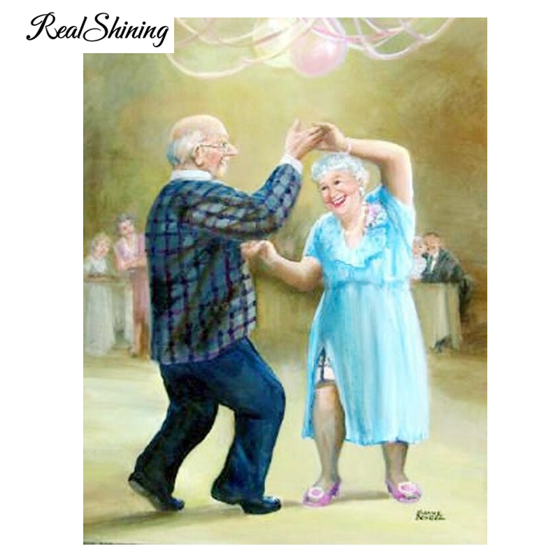 REALSHINING 3D Diamond Painting Cross Stitch Old Couple Dancer Needleworks Diamond Embroidery Full Square Home Decor FS947