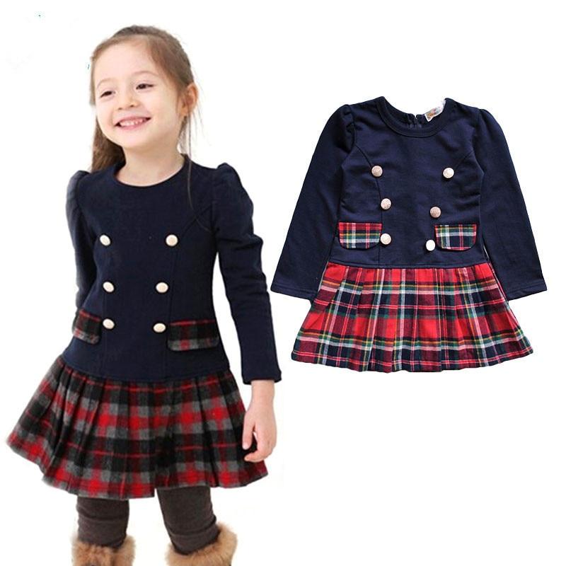2018 3-7years ฤดูใบไม้ร่วงฤดูหนาวกระดุมคู่ชุดสำหรับสาว ๆ เด็กเด็กลายสก๊อตเต็มแขนชุดชุดนักเรียนสำหรับเด็กสาว