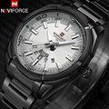 Naviforce marca homens relógios vestido relógios de quartzo 30 m à prova d' água relógios banda de aço inoxidável dos homens auto data relógios de pulso reloj hombre