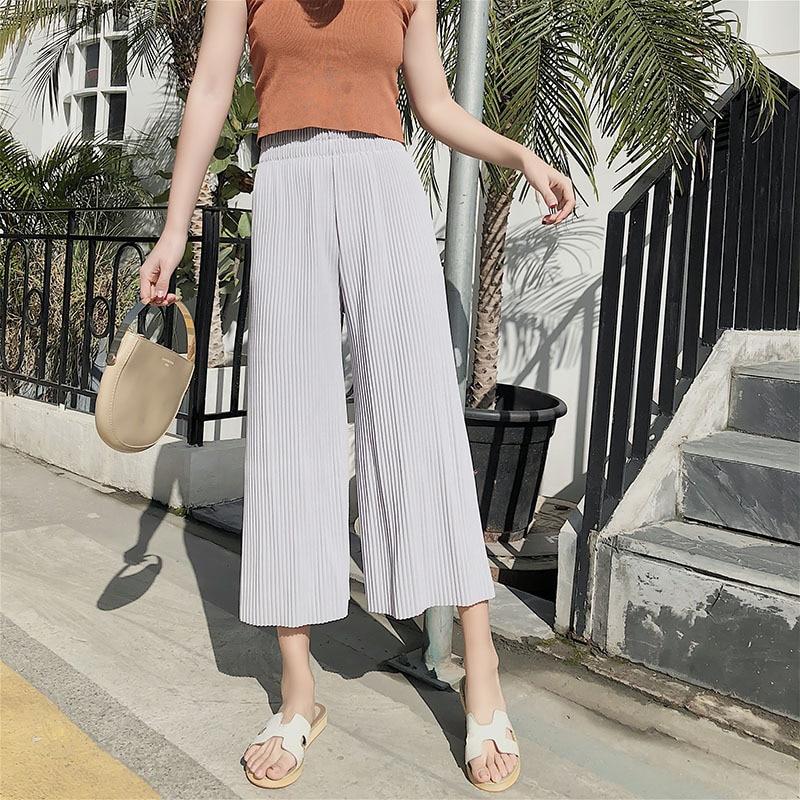 2018 neue Sommer Mode Dame Breite Bein Chiffon Hosen Hohe Taille Lange Lose  Palazzo Hosen Culottes Hosen Frauen Hosen Pantalones 9f3e0c6c7f