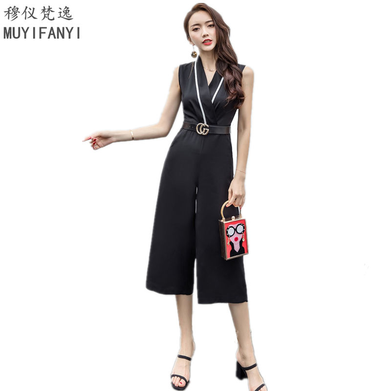 2017 musim panas busana formal jumpsuit wanita overall sexy v neck sleeveless elegant ol lady slim