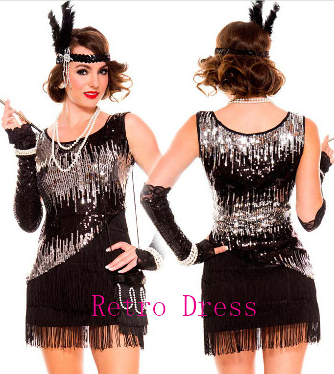 halloween costumes for women 1920s roaring 20s black sequined dress flapper costume charleston dress with boat - Halloween Costumes Prices