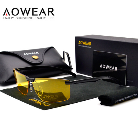 AOWEAR HD Night Vision Glasses for Night Driving Safety Car Driver Goggles Anti-Glare Yellow Sunglasses Men Polarized Eyewear Lahore