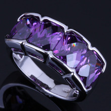 Jolly Purple Cubic Zirconia 925 Sterling Silver Ring For Women V0621