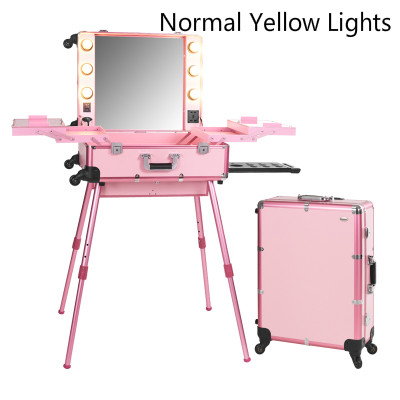 Us 305 9 30 Off Pink Normal Yellow Light Professional Travel Aluminum Rolling Cosmetic Case Makeup Lighting Studio In Bags Cases From