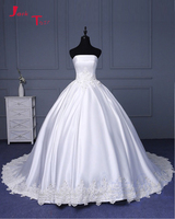 Jark Tozr Strapless Lace Up Custom Applicaties Frankrijk Satin Gorgeous Bridal Baljurk Trouwjurk Met Petticoat Casamento 2018