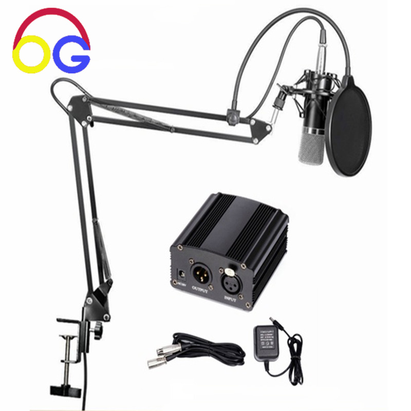 OGV 48V phantom power Supply for Condenser microphone studio Recording Equipment with Microphone Stand Pop Filter