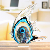 Blue Stripe Band Tropical Fish Statue Animal Glass Art&Craft Home Furnishing Articles L3305