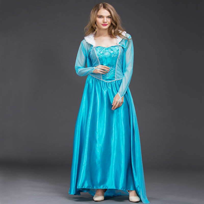 Купить с кэшбэком Free shipping New style women Frozen Cosplay Elsa costume Princess Costume Dress Halloween Dress with cloak for adult JQ-1034