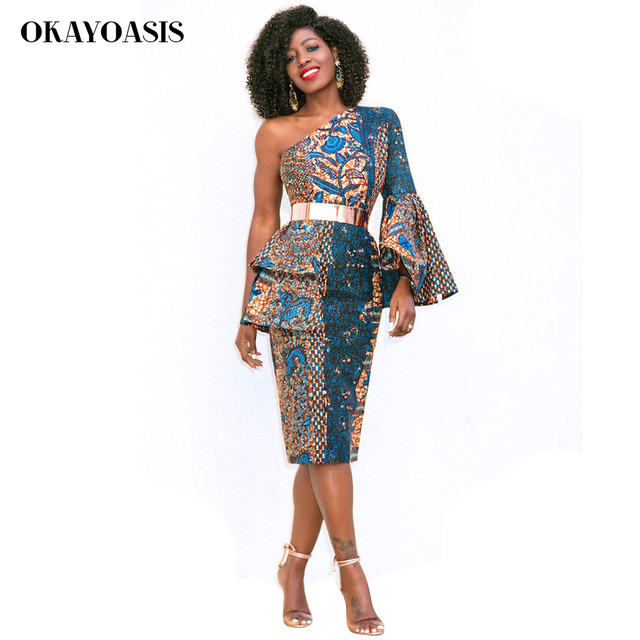 2b2bccc2b8e OKAYOASIS 2018 Autumn One Shoulder Vintage Traditional African Dresses for Women  Print Bodycon Sexy Dress Plus