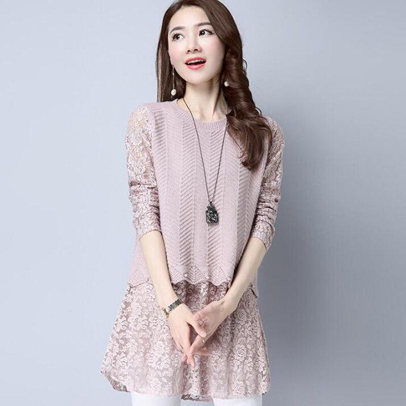 Femmes faux deux pièces pulls pull col rond tricoté et dentelle matière Composition perle longs pulls pull femme