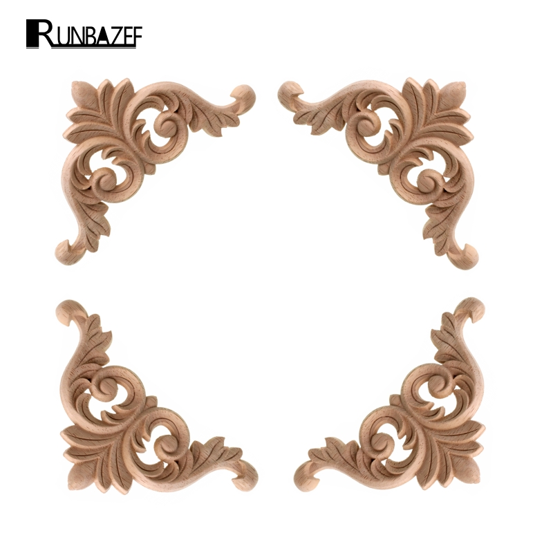 RUNBAZEF Style Wooden Wood Applique Decorative Flower Piece Pass Background Wall Wardrobe C.flower Home Decoration Accessories
