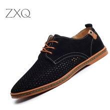 Новые модные летние дышащие замшевые Для мужчин повседневная обувь удобная мужская кожаная обувь большой Размеры ЕС 38-48
