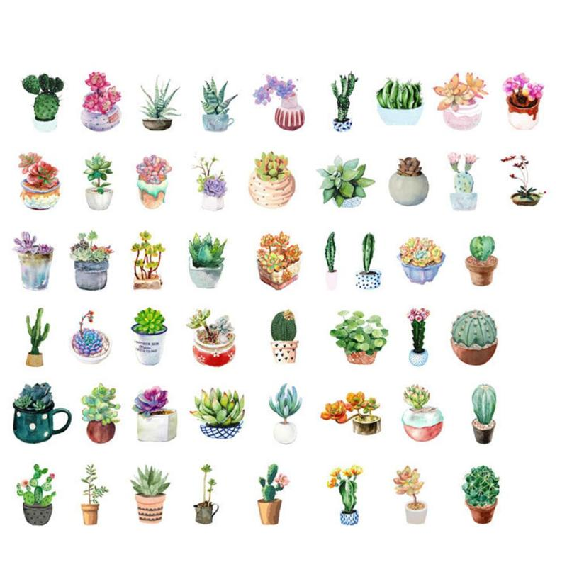 50 Pcs/set Creative Green Cactus Plant Flower Cartoon Cute Creative Stickers DIY Stationery Scrapbooking Diary Notebook