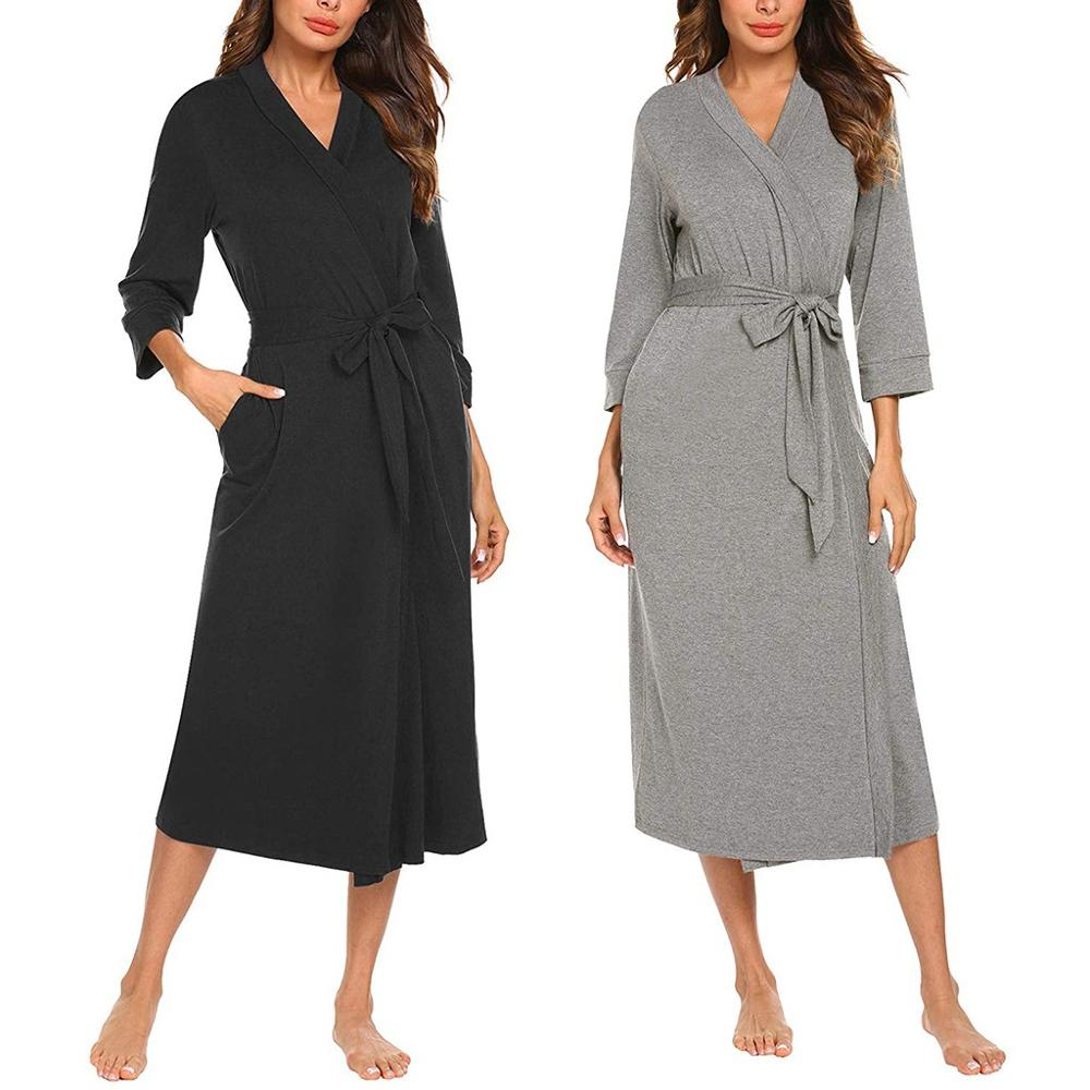 Women's Bathrobe Cotton Robe Women's Kimono Pajamas 4/3 Sleeve V-neck Lightweight With Belt Long Bathrobe Sleepwear Pijama Mujer