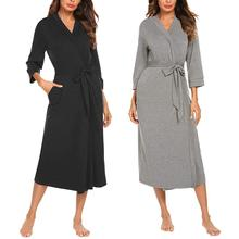 Women's Bathrobe Cotton Robe Women's Kimono Pajamas 4/3 Sleeve V-neck Lightweigh