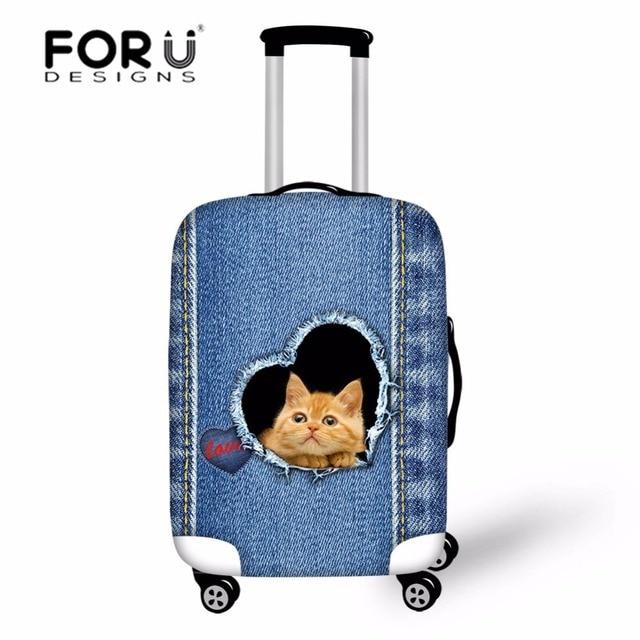286afb2a8b5a Forudesigns/Denim Cat Чехол Дорожные сумки Чемодан чемодан защитная крышка  Для женщин тележка чехол для