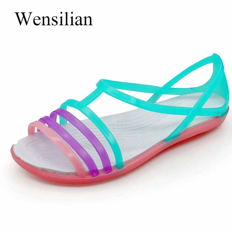 HTB1fGPnaELrK1Rjy0Fjq6zYXFXa5 - Women Sandals Flat Casual Jelly Shoes Sandalia Feminina Beach Candy Color Slides Ladies Flip Flops Slippers Sandalias Mujer