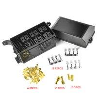 Universal Car Fuse Box Holder 6 Way Black Auto Fuse Relay Holder Box Socket 6 Relay