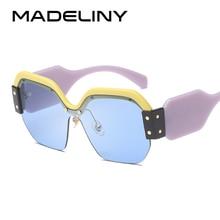 MADELINY New Design Oversized Square Sunglasses Women Brand Designer Retro RimlessSun Glasses Female UV400 MA438