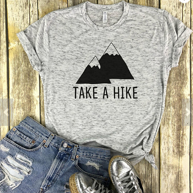 1549f1817 Take A Hike Letter Shirts Mountain Peak Aesthetic Clothing Women's Graphic  Tees Tumblr Popular Tshirt Summer Style Gray Color