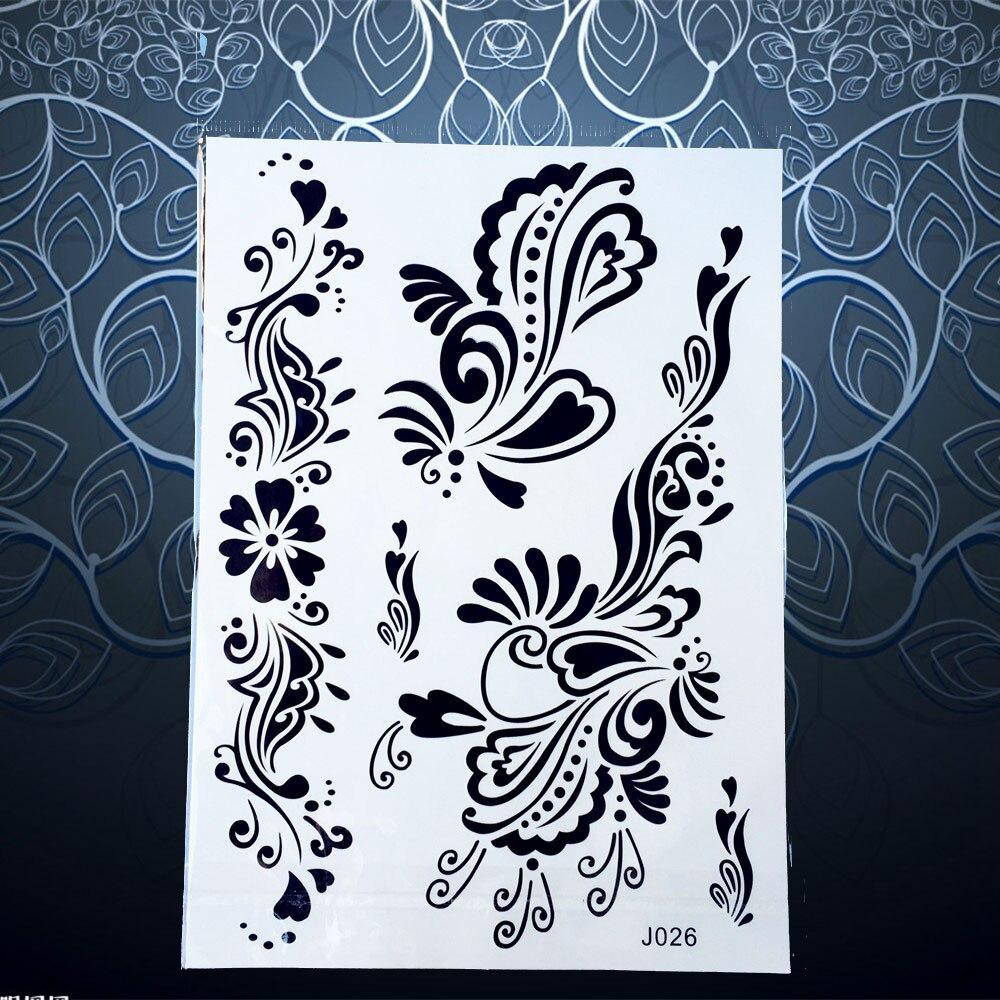 1PC Sexy Black Ink Henna Tatoo Flower Design Waterproof Tattoo Paster Women Hand Leg Mehndi Flash Temporary Tattoo Sticker PBJ26