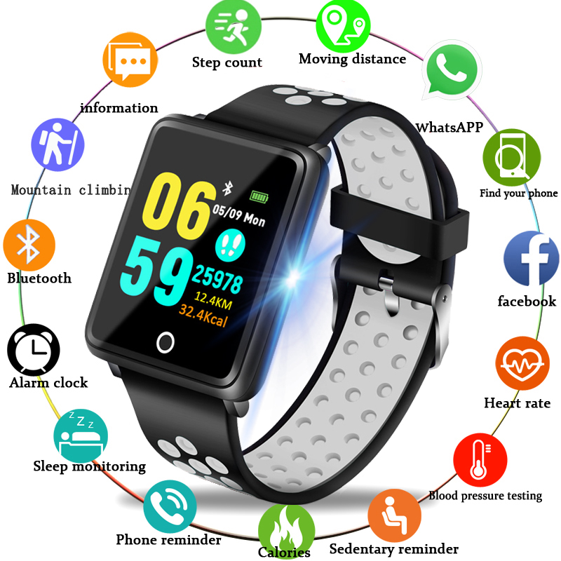 LIGE Men's Smart Bracelet Women's Heart Rate Blood Pressure Oxygen Sleep Monitoring Pedometer Fitness Sports Watch Android Ios