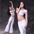 Новый стиль костюмы Belly dance sexy модальные с коротким рукавом топ + брюки 2 шт. belly dance набор для женщин живота танцевальные костюмы