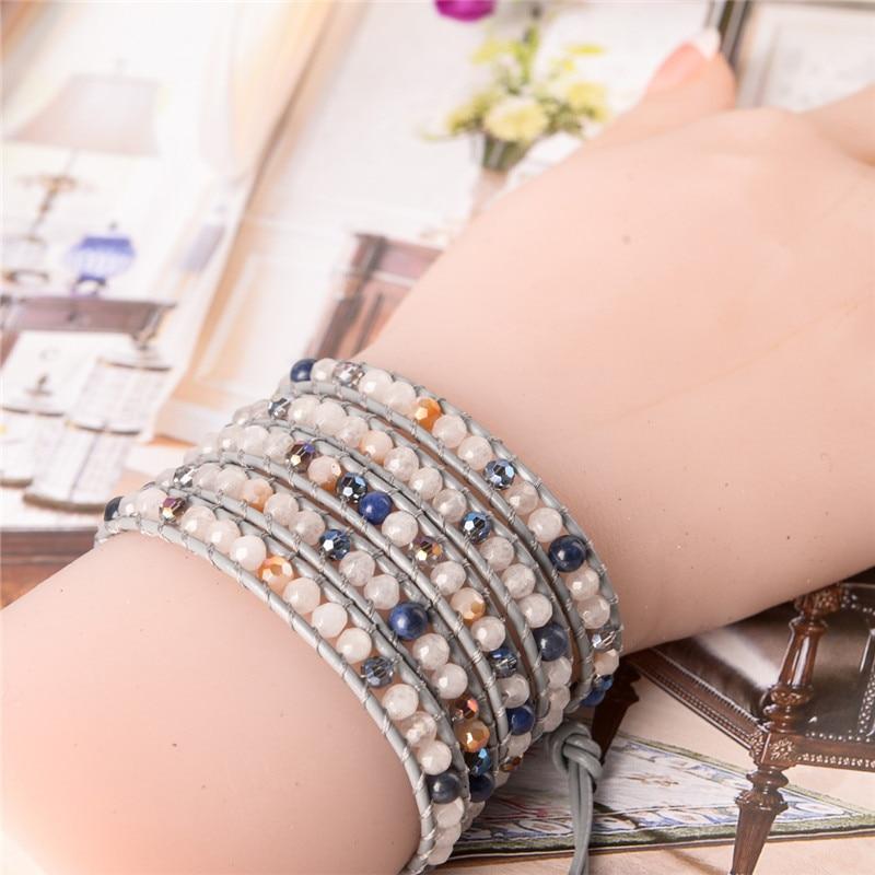 YGLINE Women Boho Bracelet Natural Stone 5X Leather Wrap Bracelet Stone Beaded Bracelet Drop Shippping