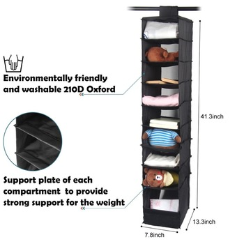 DINIWELL Washable 210D Oxford Magic Stickers Hanging Organizer Box Wardrobe Clothes Closet Storage Bag For Clothing Socks Hats