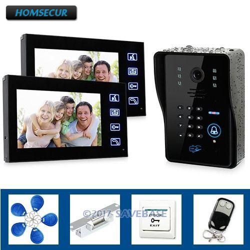 HOMSECUR 7 Door Phone System 1Keypad Camera 2Monitors Remote Controller Keyfobs 1 LockHOMSECUR 7 Door Phone System 1Keypad Camera 2Monitors Remote Controller Keyfobs 1 Lock