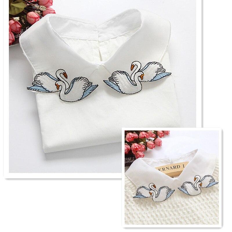 4style detachable funny fake collar Women cartoon embroidery white half shirt collar false lapels christmas gift Choker applique