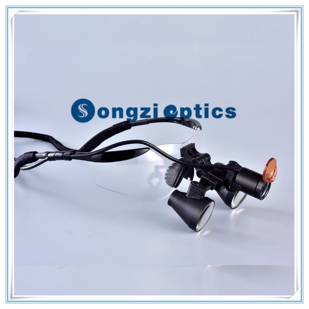 2 5X 3X 3 5X optional Black Goggles Frame Binocular Surgical Dental Loupes LED light
