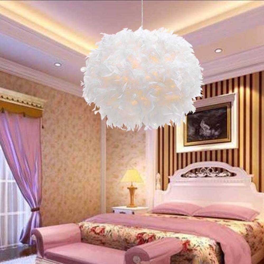 Western modern House Plug in Pendant Lights White Feather lighting On/off Switch in Line for living room bedroom hotel fixtures
