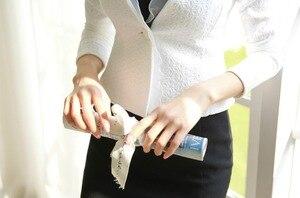 Image 4 - İlkbahar sonbahar kadınlar Blazer beyaz örgü sınırlı Ruffled ince tek düğme kısa Blazer uzun kollu ceket ceket dış giyim C91591