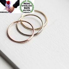 OMHXZJ Wholesale European Fashion Woman Girl Party Wedding Gift  AAA Zircon 925 Sterling Silver 18KT Yellow Rose Gold Ring RR395 цена и фото