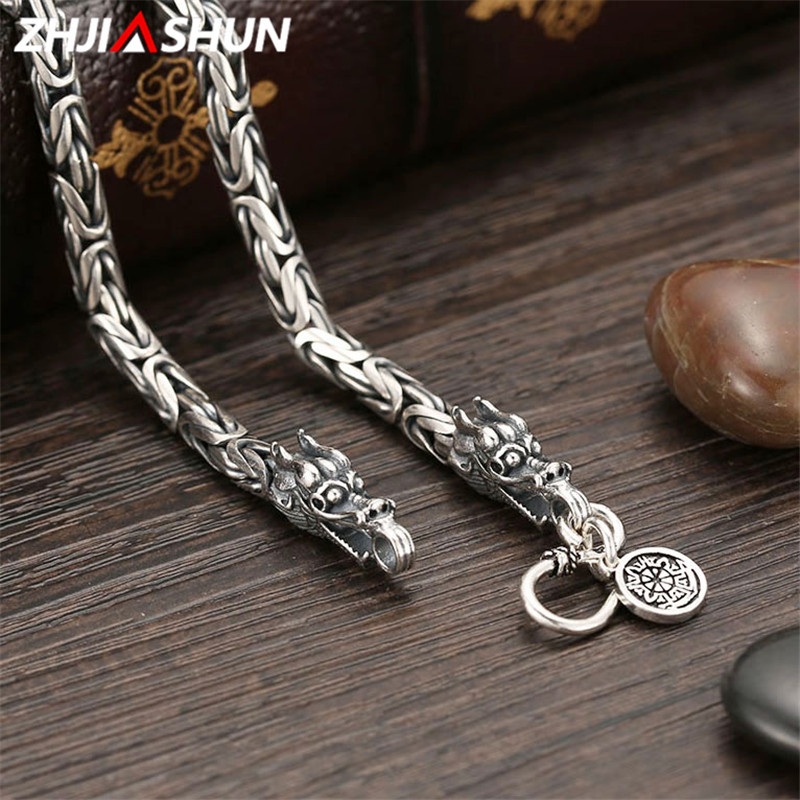 ZHJIASHUN 925 Sterling Silver Heavy Chain Necklace for Men Male Vintage Thai Silver Dragon Necklaces Mens Jewelry YSN003 все цены