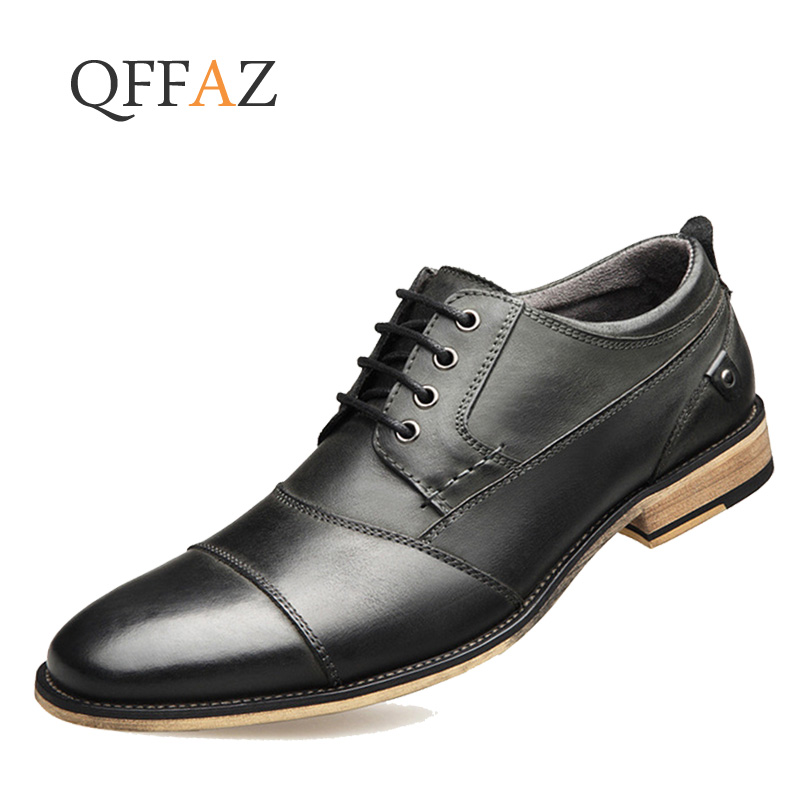 QFFAZ  New 2019 Men Dress shoes Big size 39 48 Man Business shoes Genuine Leather male Lace up casual shoes Spring/Autumn-in Formal Shoes from Shoes    1