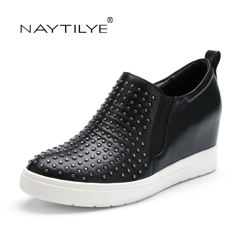 Calzado casual sin cordones básico para mujer Color negro Polka Dot Primavera / Otoño Pu zapato de cuero ecológico 36-41 Envío gratis NAYTILYE