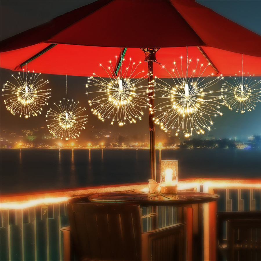 Thrisdar 4PCS DIY 120LED Firework Explosion Star Christmas Fairy Light With Remote 8 Modes Hanging Starburst LED String Garland danielson touch screen touch board touch glass h2042 01 b