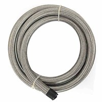 10 Feet Stainless Steel Oil / Fuel Hose AN 4 Double Braided Fuel Line Universal Turbo Oil Cooler Hose End Adapter Pipe 1500 PSI
