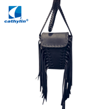 2016 New Arrival Ladies Crossbody Bag Bolsas Femininas Woven Strip Tassel Small Leather Women Fringed Messenger Bags for Girls