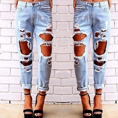 2017 fashion holes straight summer New Fashion women jeans woman Light Blue Solid Novelty Skinny Full length ripped jeans