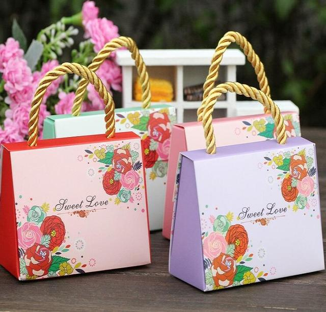 80pcs Lot Wedding Paper Gift Bags With Handles Favors For Guests Pink Purple