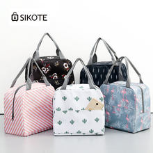 SIKOTE Canvas Lunch Bag Portable Insulation Lunch Box for Picnic Cooler Thermal Bags for Student Women Lunch Bags Sweet Style(China)