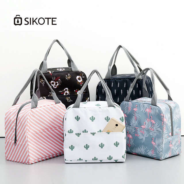 Sikote Canvas Lunch Bag Portable Insulation Box For Picnic Cooler Thermal Bags Student Women Sweet Style