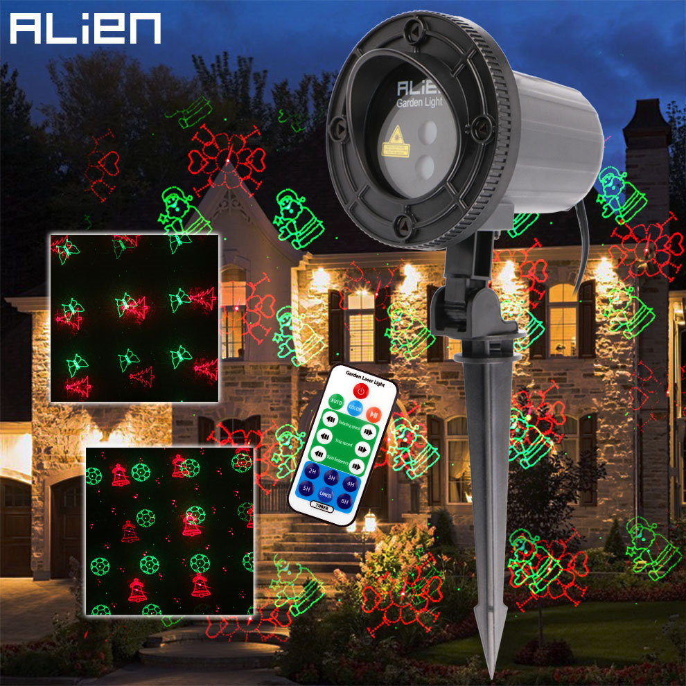 цены на ALIEN Red Green 12 Patterns Remote Waterproof Christmas Laser Lights Xmas Outdoor Garden Holiday Party Tree Projector Lighting в интернет-магазинах