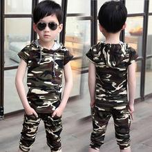 2019 Summer Boys Fashion Camouflage Clothing Suit Kids Short-Sleeve Hooded T-Shirt Pants Twinset Kids Casual Sports Clothes X365 sports smiling face pattern hooded t shirt crop pants twinset for girls