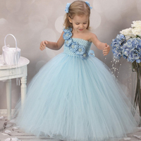 New Design Cute Blue Flower Girls Dresses For Wedding Rose Flower Kids Tutu Dresses Pageant Party
